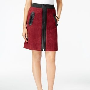 Eci XL Maroon Faux-Suede Mixed Media A-Line Skirt